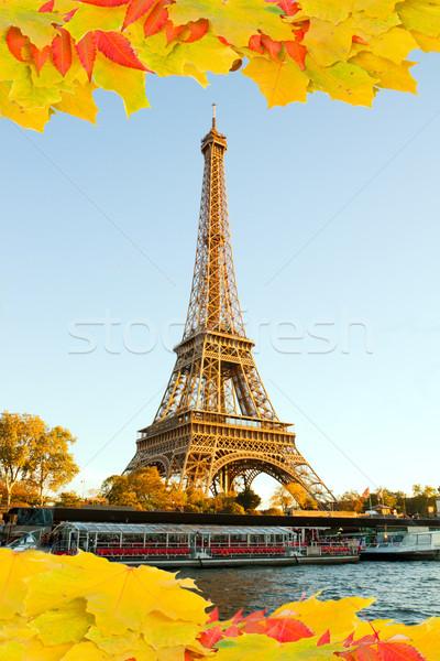 Eiffel tur düşmek Paris Fransa Stok fotoğraf © neirfy