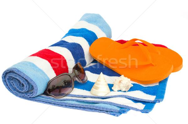 пляж полосатый полотенце сандалии изолированный белый Сток-фото © neirfy