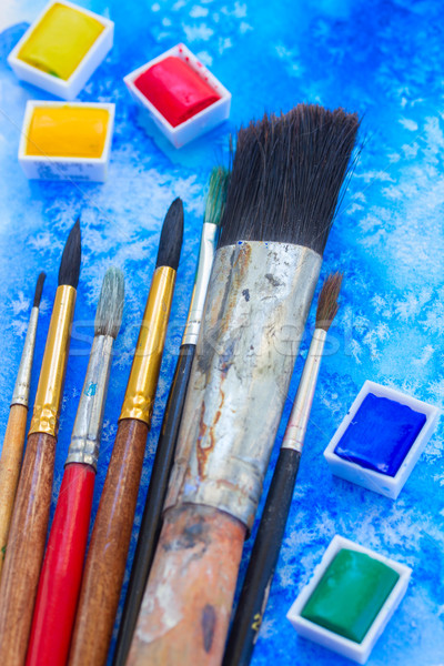 paints and brushes Stock photo © neirfy