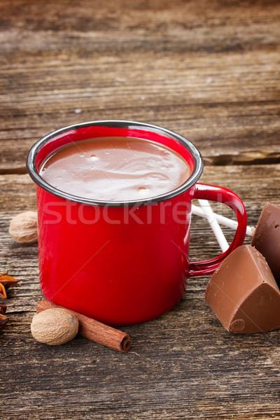 Stock fotó: Csésze · forró · csokoládé · piros · bögre · fűszer · fa · asztal