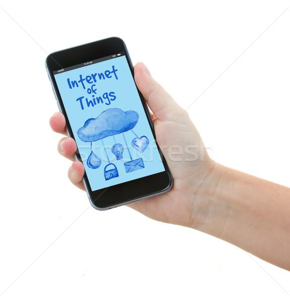 Telefone internet coisas tela mão Foto stock © neirfy
