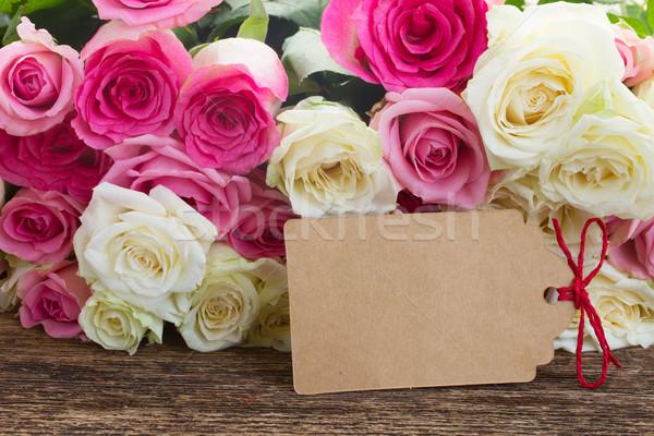 Stock fotó: Rózsaszín · fehér · rózsák · friss · üres · papír