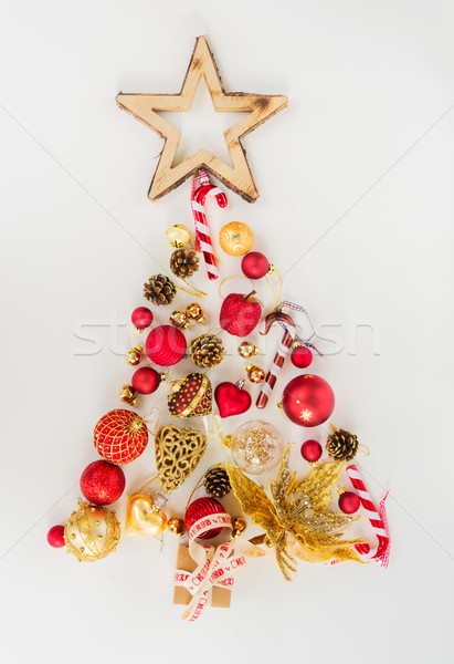 Christmas tree in red and gold Stock photo © neirfy