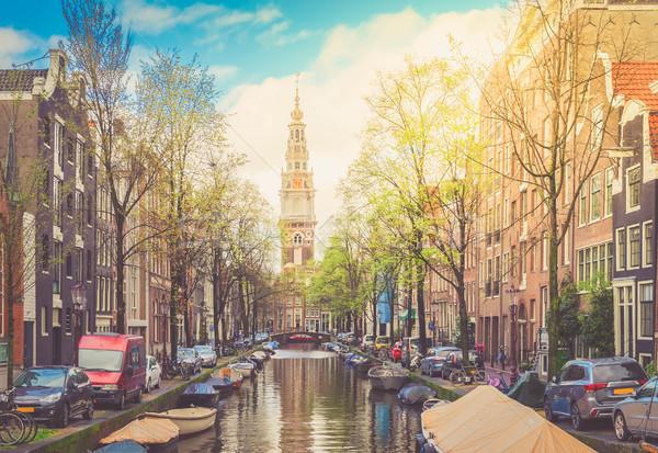 Evler Hollanda güney kilise kanal Amsterdam Stok fotoğraf © neirfy