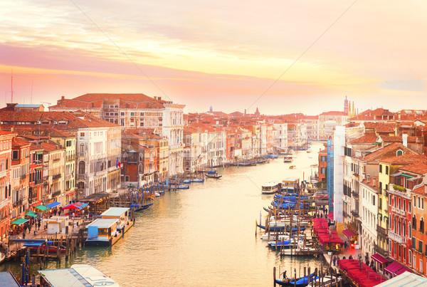Canal Venecia Italia colorido puesta de sol cielo Foto stock © neirfy