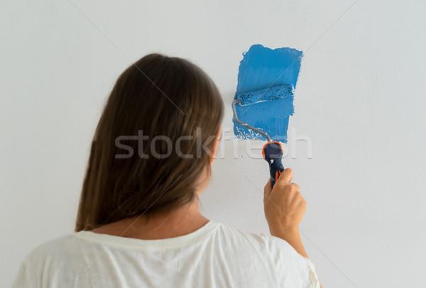 Foto stock: Mulher · pintura · parede · casa · faça · você · mesmo · casa