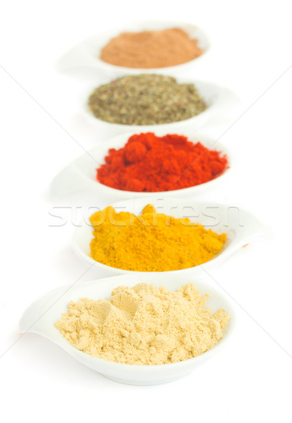 line of spices on white Stock photo © neirfy