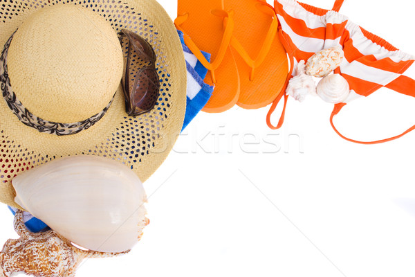 pair of orange sandals, hat and  seashells  frame Stock photo © neirfy