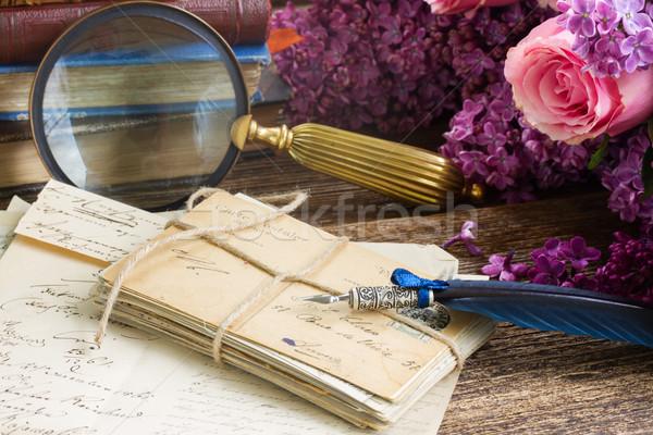 Pena caneta velho fresco flores azul Foto stock © neirfy