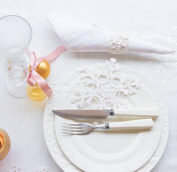 Tafelgerei ingesteld christmas witte platen decoraties Stockfoto © neirfy