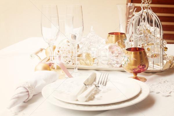 Arts de la table Noël plaques blanche Photo stock © neirfy