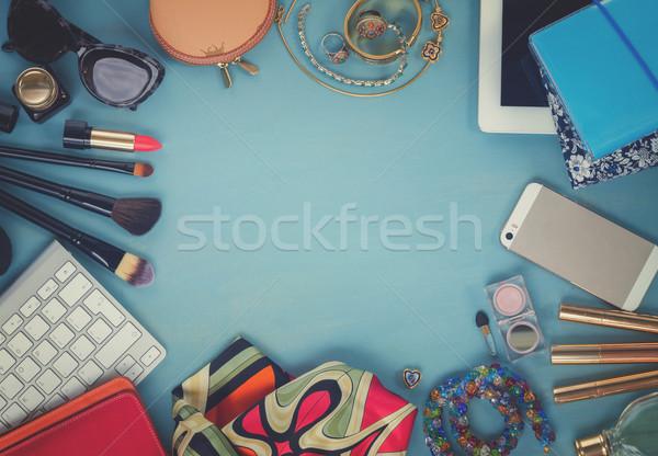Féminin bureau femme mode bleu bois Photo stock © neirfy