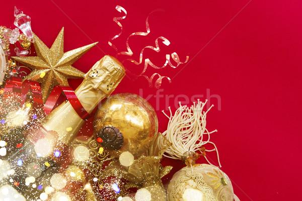 Zdjęcia stock: Nowy · rok · dekoracje · butelki · szampana · christmas · czerwony
