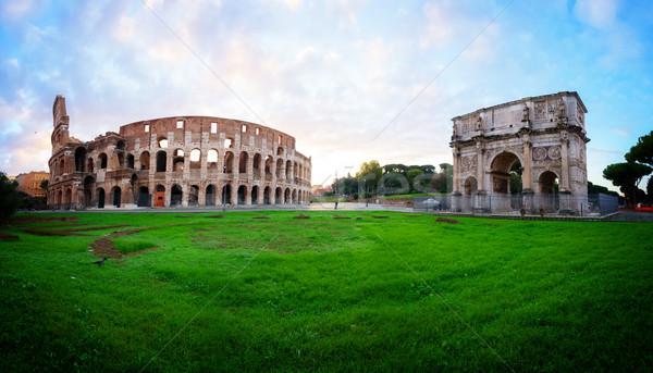 Colosseum gün batımı Roma İtalya ören antika Stok fotoğraf © neirfy