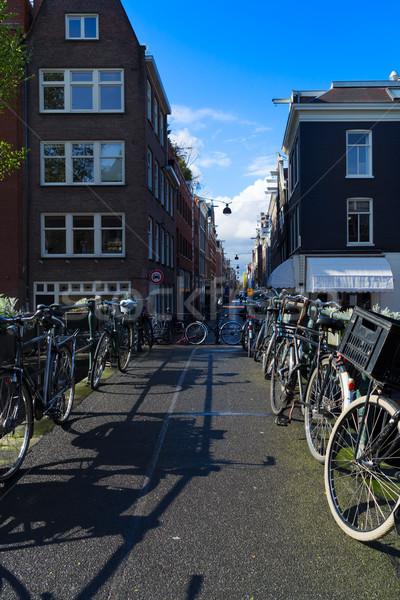 Oude fiets kanaal Amsterdam straat fietsen Stockfoto © neirfy