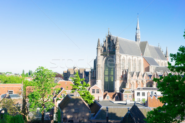 église Pays-Bas gothique toits bâtiment ville Photo stock © neirfy