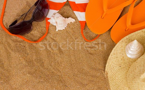 оранжевый сандалии солнечные ванны песок копия пространства Сток-фото © neirfy