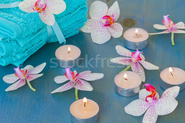 Spa evento brucia candele rosa corpo Foto d'archivio © neirfy