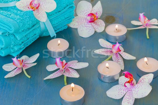 Spa Veranstaltung Brennen Kerzen rosa Körper Stock foto © neirfy