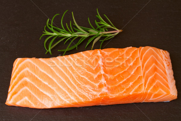 salmon steak with twig of rosemary Stock photo © neirfy