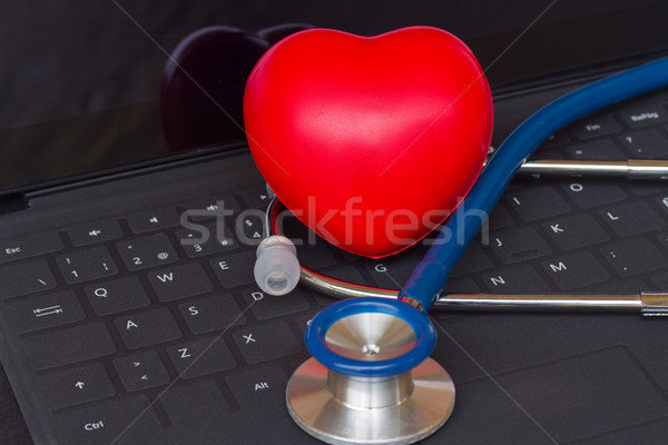 Photo stock: Stéthoscope · noir · clavier · bleu · modernes · clavier · d'ordinateur · portable