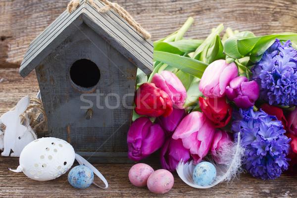 Ostereier Vogelkäfig Tulpe Blumen Holztisch Ostern Stock foto © neirfy