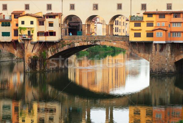Floransa İtalya ünlü köprü yansıma su Stok fotoğraf © neirfy