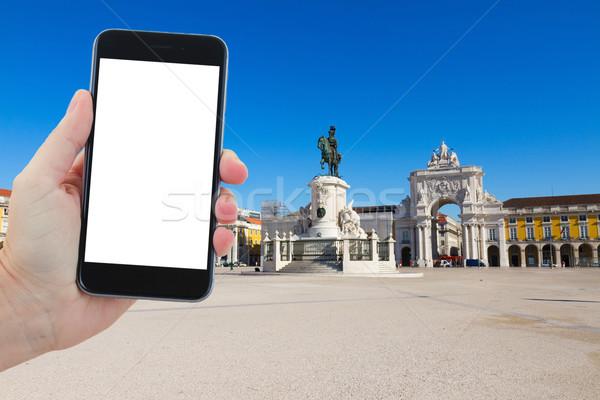 Viaje comercio cuadrados Lisboa Portugal espacio de la copia Foto stock © neirfy