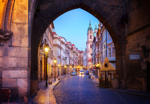 entrance to Hradcany old town at night, Prague Stock photo © neirfy