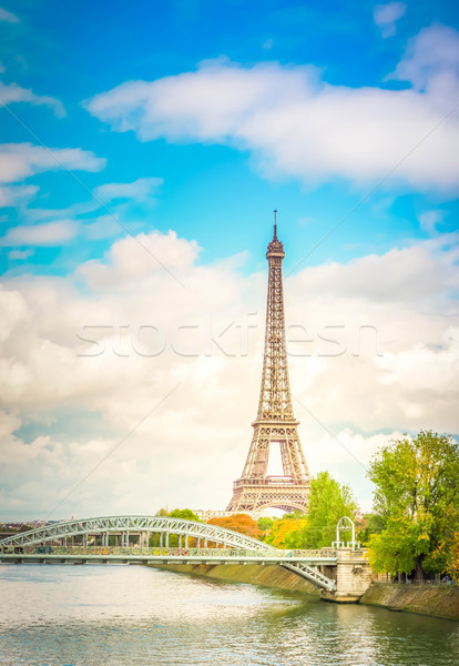 eiffel tour over Seine river Stock photo © neirfy