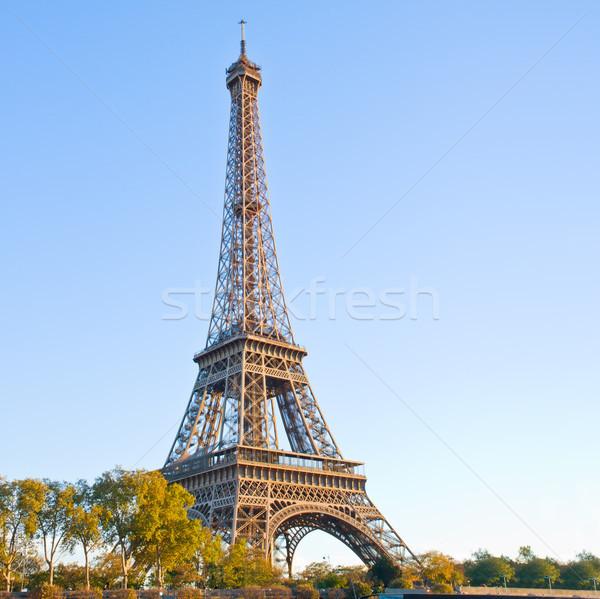 Eiffel turné Franciaország Párizs tavasz fák Stock fotó © neirfy