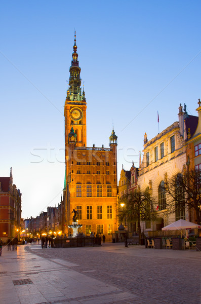 Stadhuis gdansk nacht Polen landschap venster Stockfoto © neirfy