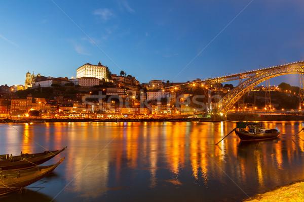 夜景 ポルトガル 川 旧市街 丘 水 ストックフォト © neirfy
