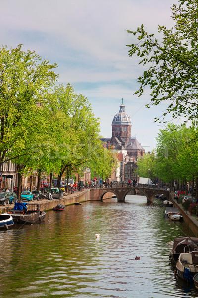 Stockfoto: Kerk · Amsterdam · oude · binnenstad · straat · kanaal · holland