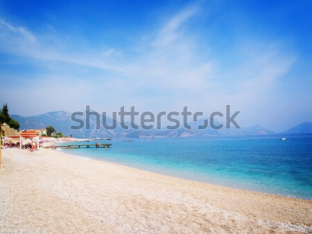 Schönen Seenlandschaft Sommer Strand Himmel Stock foto © neirfy