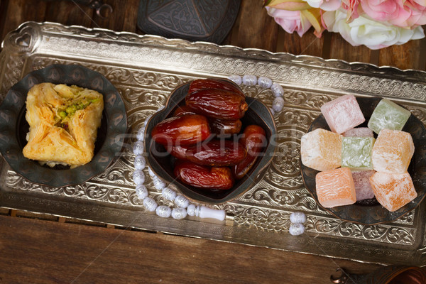 Turkish delights with tasbih Stock photo © neirfy