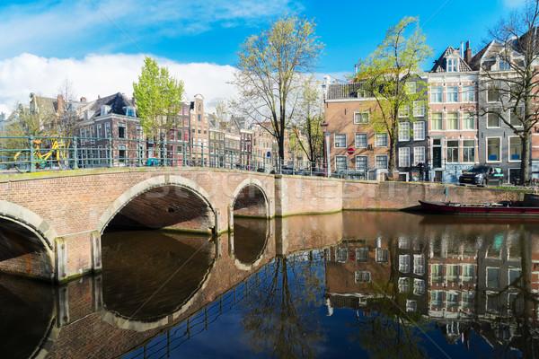 Häuser Niederlande Kanal schönen Reflexionen Himmel Stock foto © neirfy