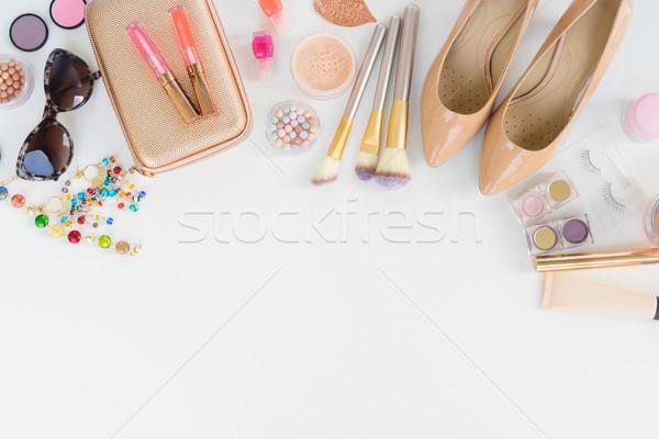 Top view femminile moda accessori borsa Foto d'archivio © neirfy