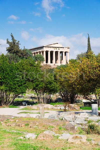 Atenas Grécia templo antigo céu arte Foto stock © neirfy