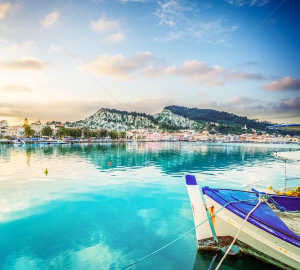 町 ギリシャ 釣り ボート 港 日没 ストックフォト © neirfy