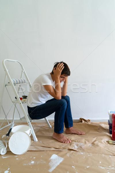 Csináld magad ház festmény felszerlés szoba fiatal férfiak Stock fotó © neirfy