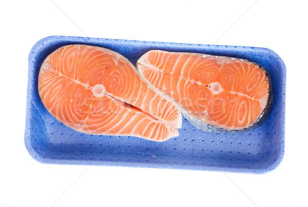 Salmão bandeja isolado branco comida Foto stock © neirfy