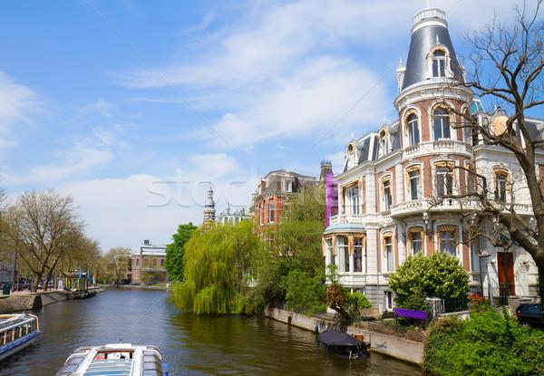 Uno Amsterdam barrio antiguo Países Bajos árbol ciudad Foto stock © neirfy