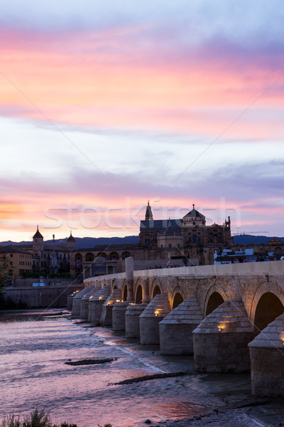 Mezquita and roman bridge at evening, Spain Stock photo © neirfy