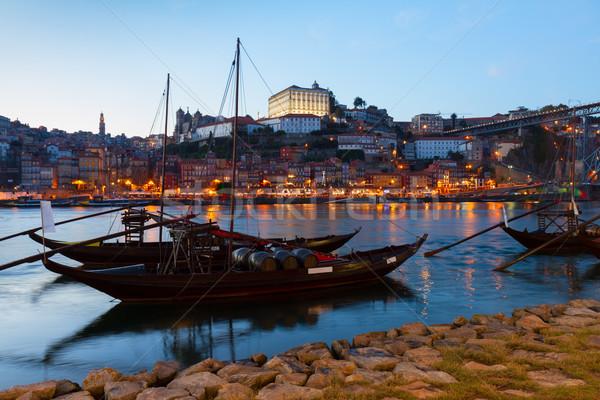 夜景 ポルトガル 川 伝統的な ポート ワイン ストックフォト © neirfy