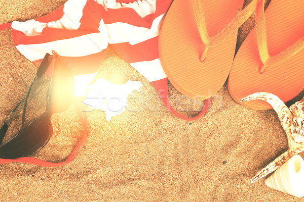 orange sandals and shells Stock photo © neirfy