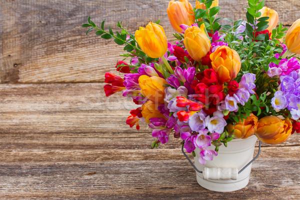 Kwiaty świeże niebieski fioletowy czerwony pomarańczowy Zdjęcia stock © neirfy