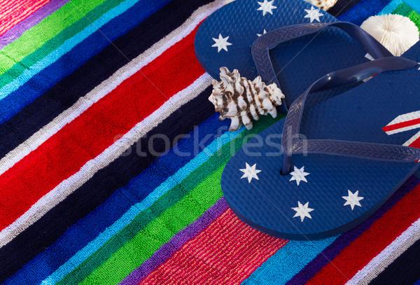 Azul toalla de playa sol fondo Foto stock © neirfy