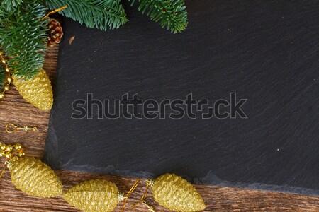 örökzöld fa arany fenyőfa karácsony keret Stock fotó © neirfy