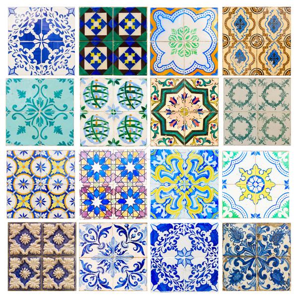 Antieke tegels Portugal ingesteld traditioneel muur Stockfoto © neirfy